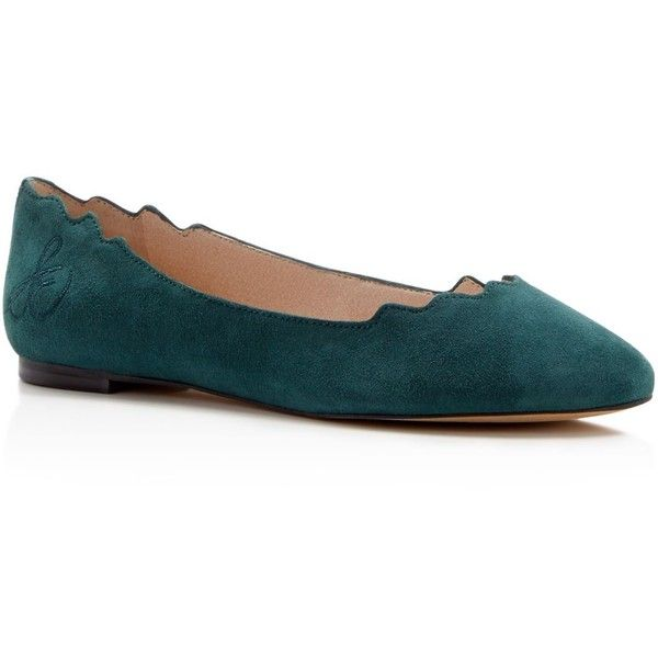 Sam Edelman Augusta Suede Scallop-Edge Ballet Flats (£70) ❤ liked on Polyvore featuring shoes, flats, winter teal, sam edelman shoes, suede ballet flats, sam edelman flats, suede shoes and ballerina flat shoes
