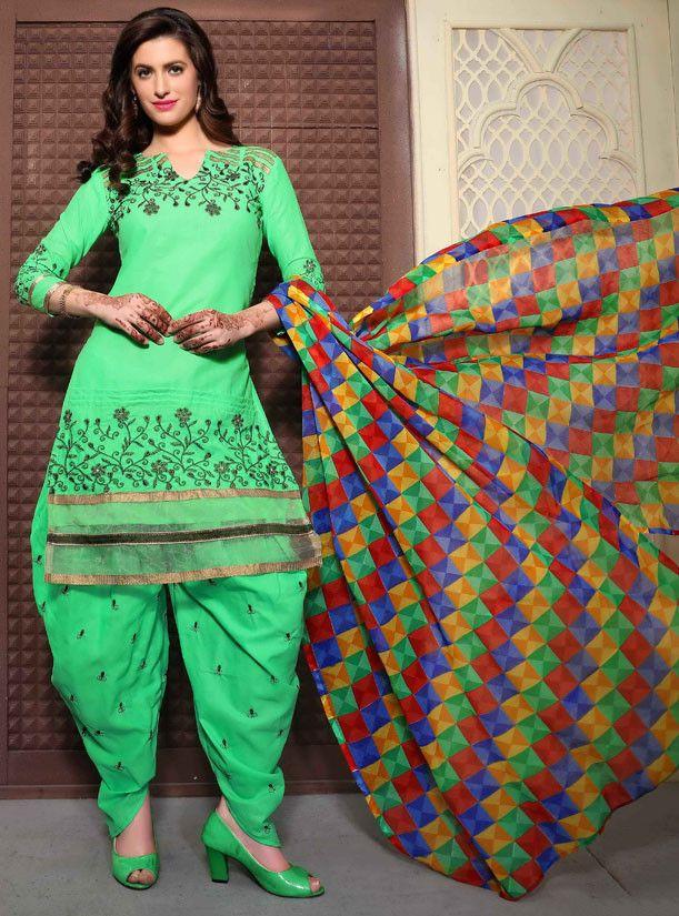 Spring Green Party Wear Patiala Dress