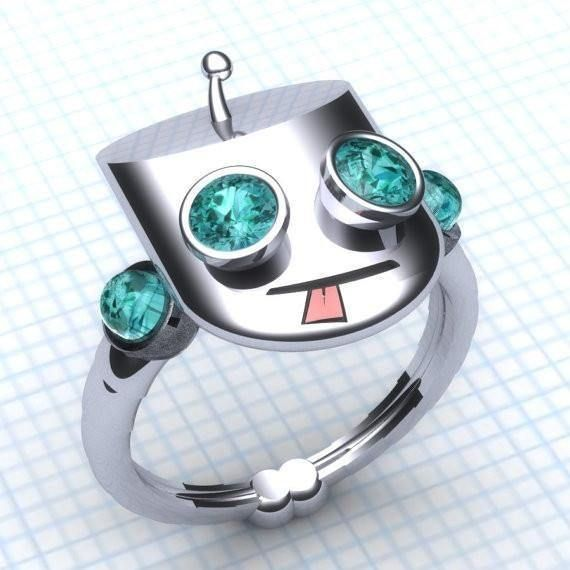 Cool Gir Ring Engagement Ring- Ladies Ring paulmichaeljewelry animated jewelry cool custom engagement ring fantasy jewelry geek gir rring invader zim ladies geek sci-fi jewelry sterling silver television Sterling Silver and Topaz
