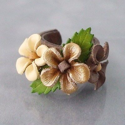 Goldtone Floral Blossom Leather Ring Thailand | eBay