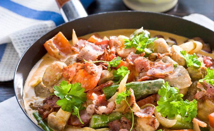 Bacon, champinjoner och grädde ger fin smak till fläskfilépannan. Festligt, enkelt och jättegott!