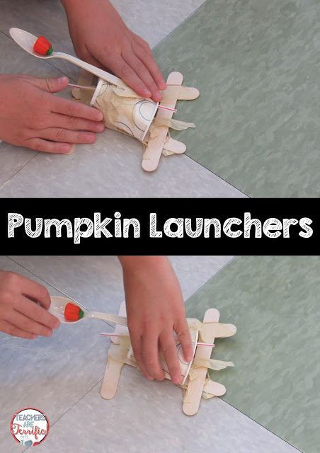 STEM Challenge: Build a Pumpkin Launcher! A lot of groups made a catapult device…