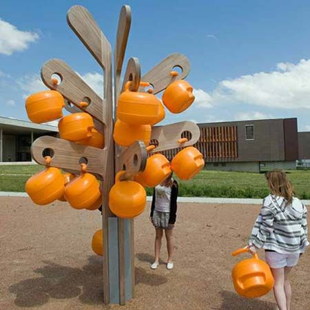 """French designer Matali Crasset has designed a series of sculptural outdoor """"trees"""" for a high school in France."""