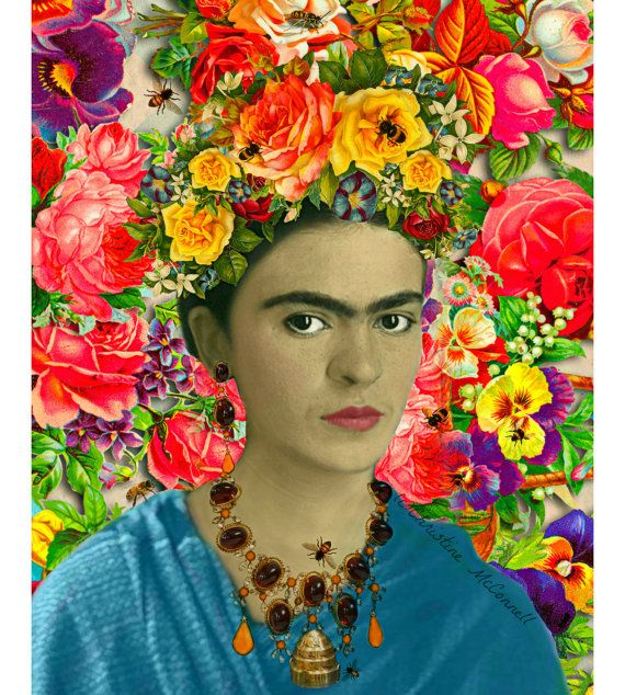 Frida Kahlo Bees Art Print Floral Boho Mixed Media por ARTDECADENCE