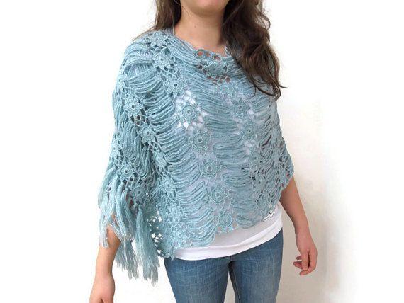 crochet  pale blue shawl by Bestknttng on Etsy