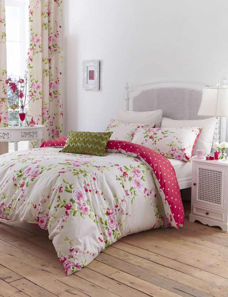 Catherine Lansfield Canterbury Floral Red Rose Duvet Cover Bedding Set FREE P&P | Home, Furniture & DIY, Bedding, Bed Linens & Sets | eBay!