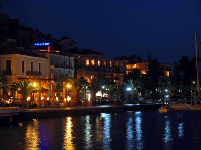 #Nafplio, the harbor front promenade with several seaside cafes side by side.