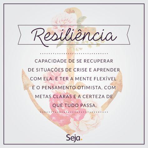 Seja resiliente, acredite na sua força no seu potencial, creia que é capaz e que tudo vai dar certo!