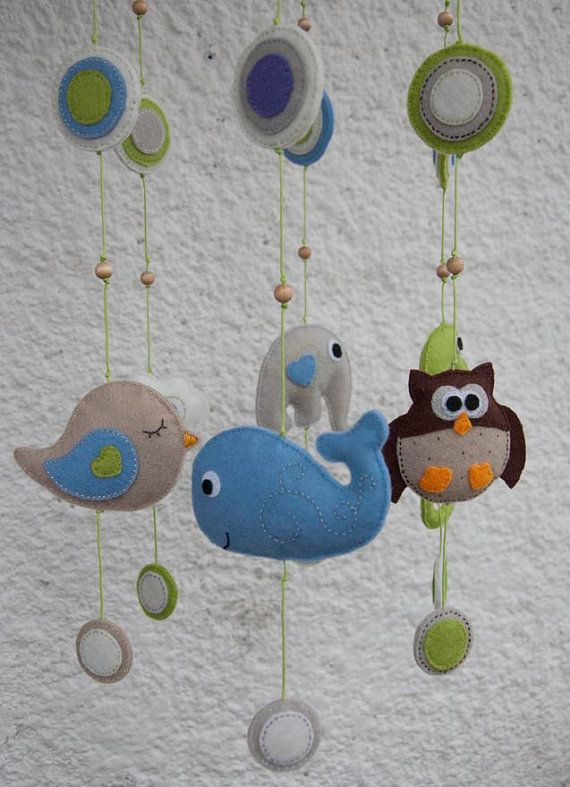 Whale only!!  Felt animals baby mobile with circles  made to order by suyika, $75.00