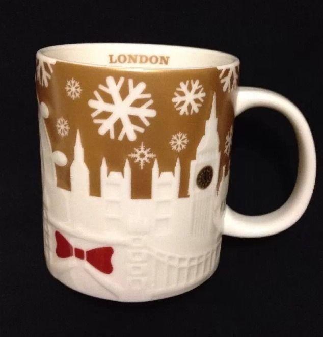 Starbucks London Christmas Relief City Mug Collector Coffee Big Ben Tower Gold  #Starbucks #london #christmas