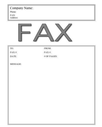 This basic printable fax cover sheet has the word Fax in large, gray letters near the top under the company name. Free to download and print