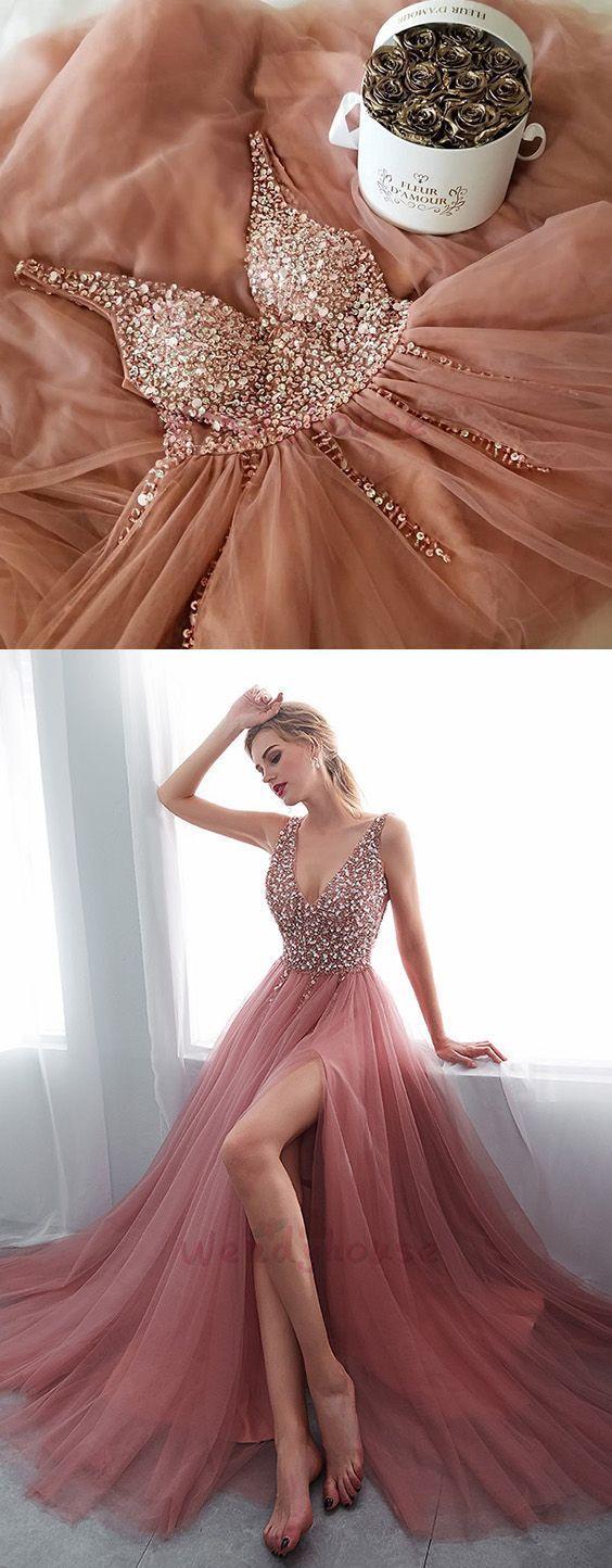 Langes Abschlussballkleid mit Schlitz, Abend Abendkleid, Lace Up Abendkleid C433