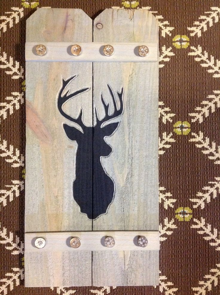 Deer Silhouette: etched, then painted, with gray washed background and shotgun shell trim.