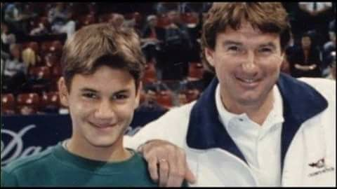Young Roger Federer and Jimmy Connors.