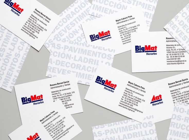 Diseño e impresión de tarjetas de visita para la empresa Bigmat Herarbo en Vila-real. Medidas 85×54 mm sobre papel corché de 350 gr