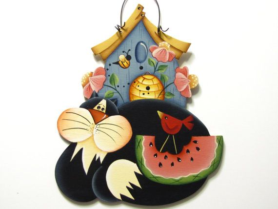 """""""Cat Sign with Birdhouse Flowers and Watermelon"""" by ToleTreasures. This piece is based on a design by Renee Mullins."""