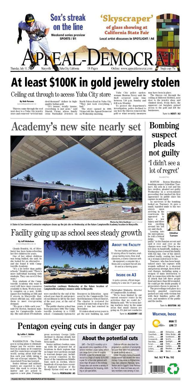 Appeal-Democrat front page for Thursday, July 11, 2013.