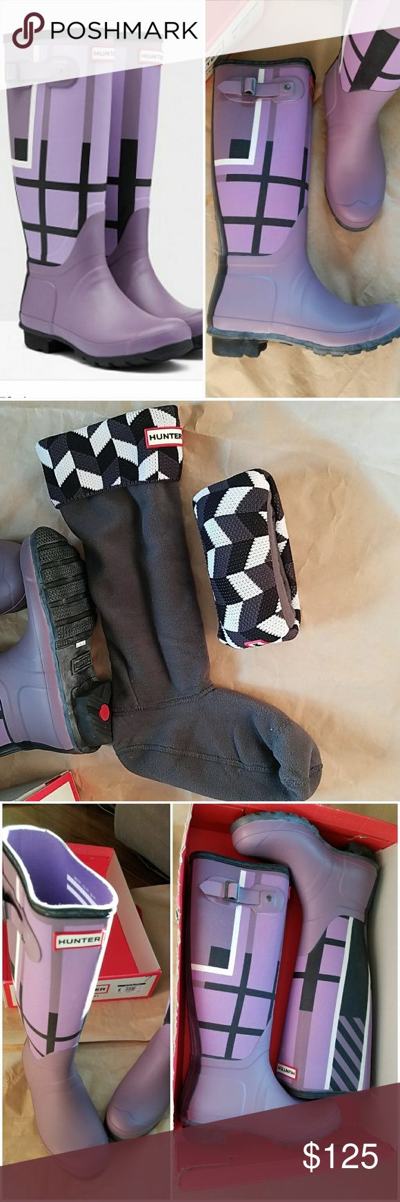 Hunter Tall Boots size 7 Hunter Boots size 7 Tartan Purple black & boot liners - both new in box Hunter Boots Shoes Winter & Rain Boots