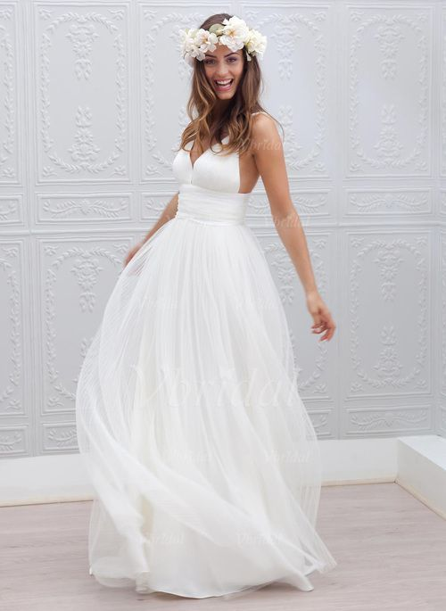 Wedding Dresses - $139.76 - A-Line/Princess V-neck Sweep Train Chiffon Tulle Wedding Dress With Ruffle (0025093894)