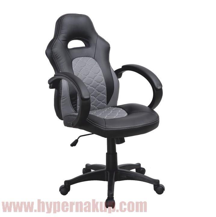 Kancelárske kreslo, ekokoža čierna/ekokoža sivá, NELSON
