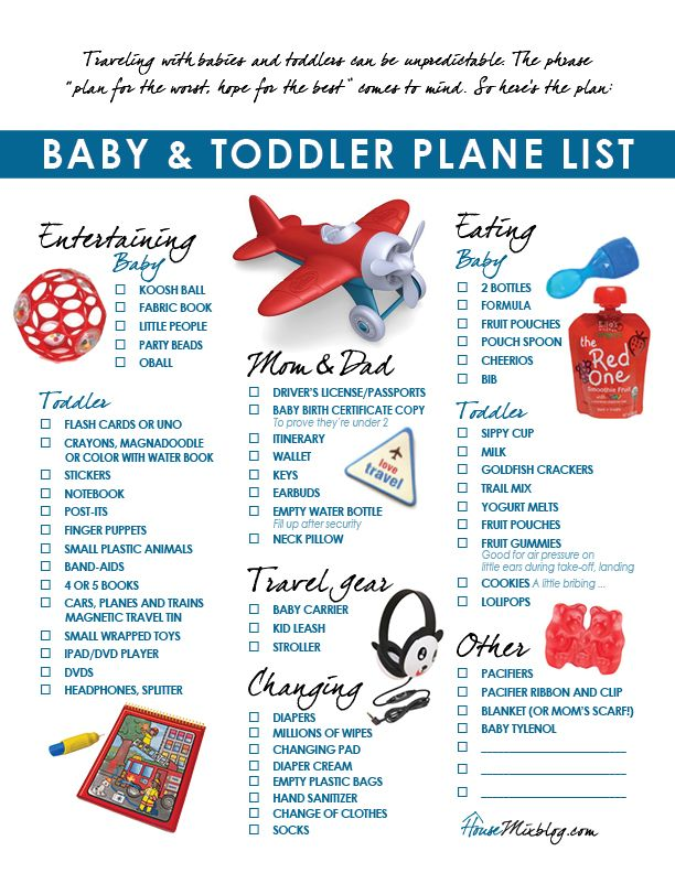 Plane pack list and travel ideas for toddlers and babies .......here's a list you don't have to make, Melissa !  : )