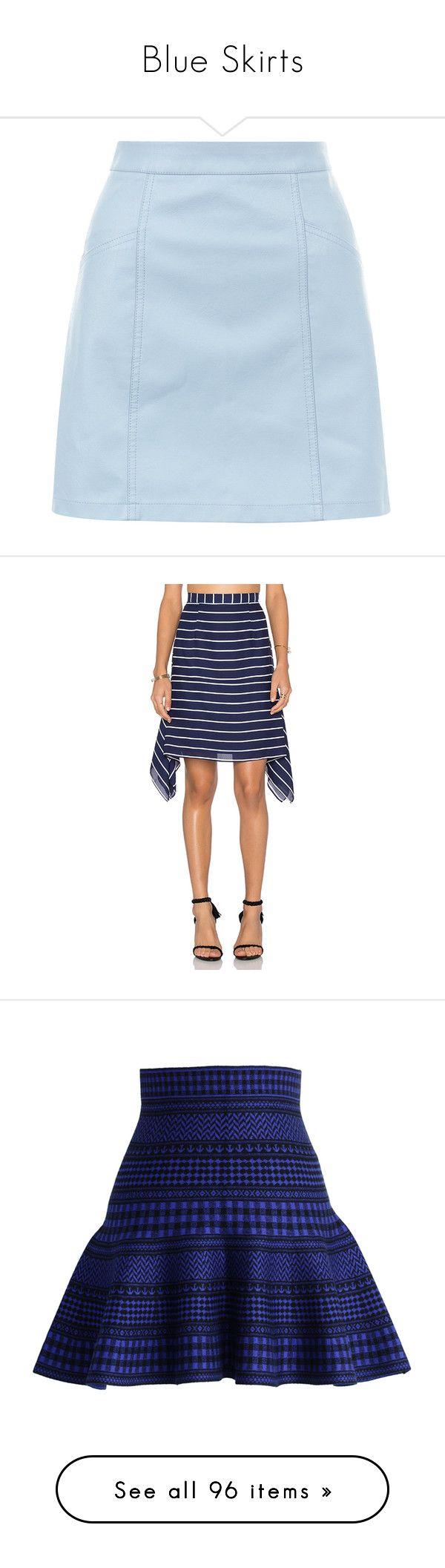 """Blue Skirts"" by kikikoji ❤ liked on Polyvore featuring skirts, mini skirts, bottoms, pale blue, short blue skirt, mini skirt, pale blue skirt, blue mini skirt, short skirts and shona joy"
