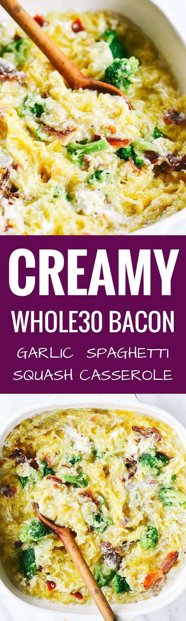 Easy whole30 creamy bacon garlic spaghetti squash bake. Can add cooked, diced chicken. Paleo, healthy, and easy to make! Paleo version of carbonara.