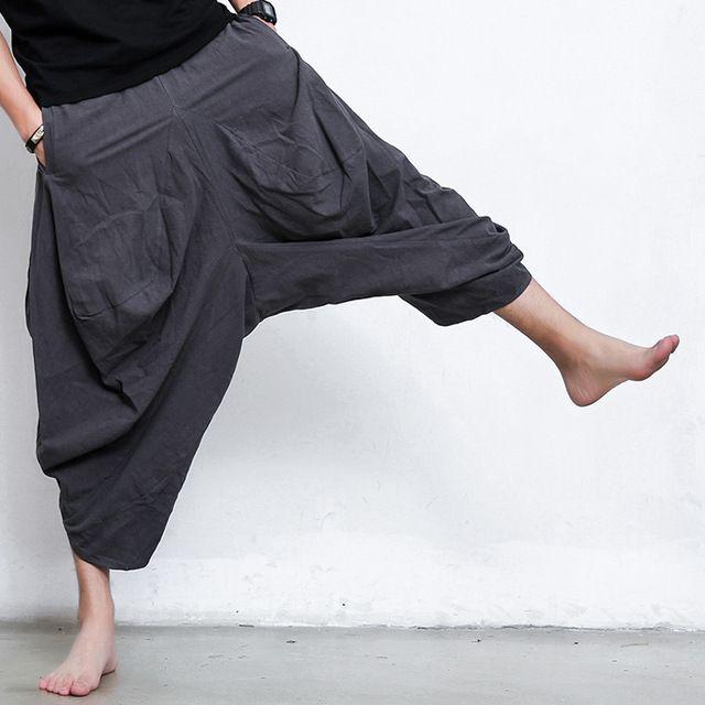 Mcckle mens falda gothic punk estilo club de la longitud del tobillo pantalones harem cruz aliento comodidad de los hombres ocasionales de lino pantalones anchos de la pierna pantalones