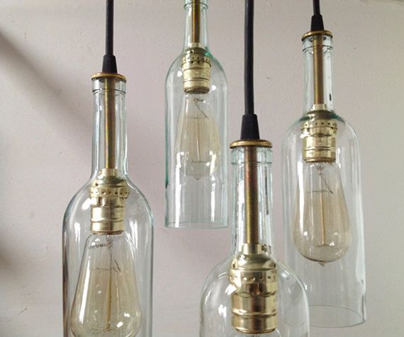Etsy の Recycled Wine Bottle Chandelier: by IndustrialLightworks