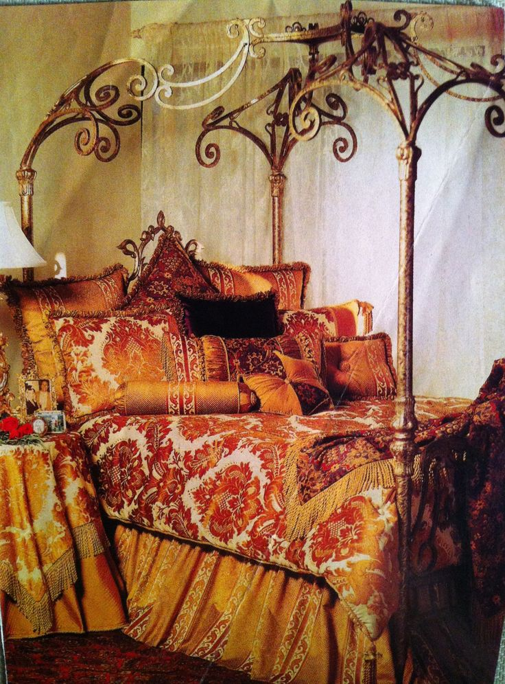 Gold painted wrought iron canopy bed dreamy bedrooms pinterest beautiful bohemian and - Bedspreads for four poster beds ...