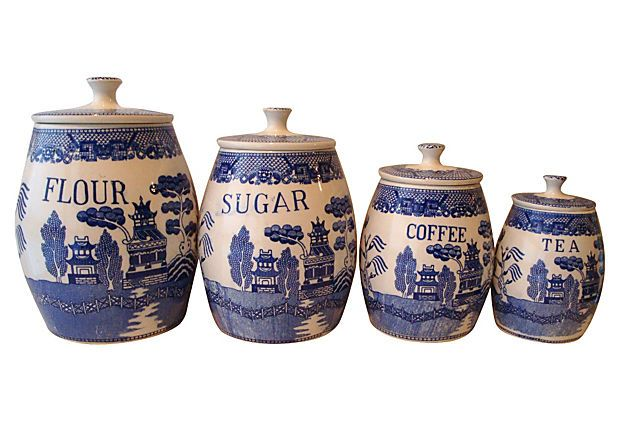 Blue Willow Ceramic Canisters S 4 On Onekingslane Com