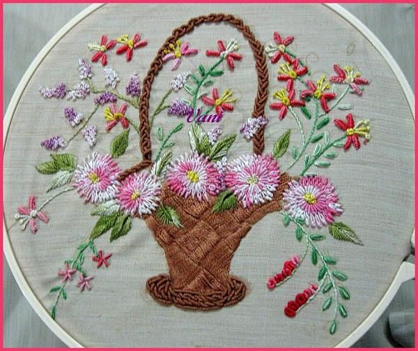 pictures of brazilian embroidery | ... Brazilian embroidery flower basket Beautiful Brazilian Embroidery