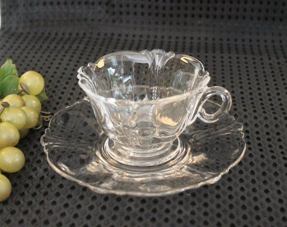 Vintage Heisey Glass Crystal Tea Cup And Matching Saucer Etsy Tea Cups Tea Cups Vintage Glass Tea Cups
