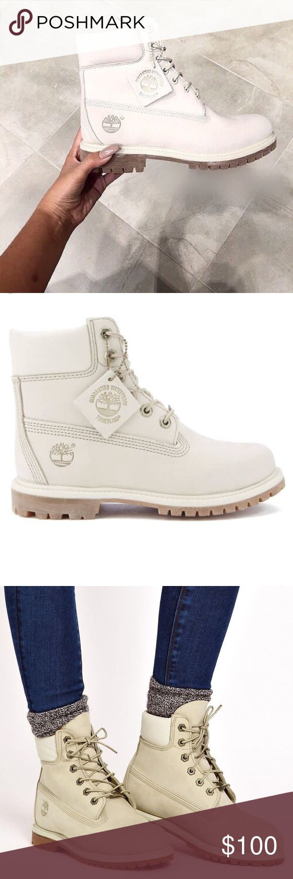 Timberland 6 inch Boots ☁️ White Timberland boots! Waterproof. Perfect for Winter. Never used. They are a size 6 but fit a 7. Timberland Shoes Winter & Rain Boots