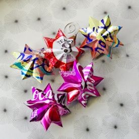 A simple video tutorial for making pretty star ornaments out of soda and other beverage cans.