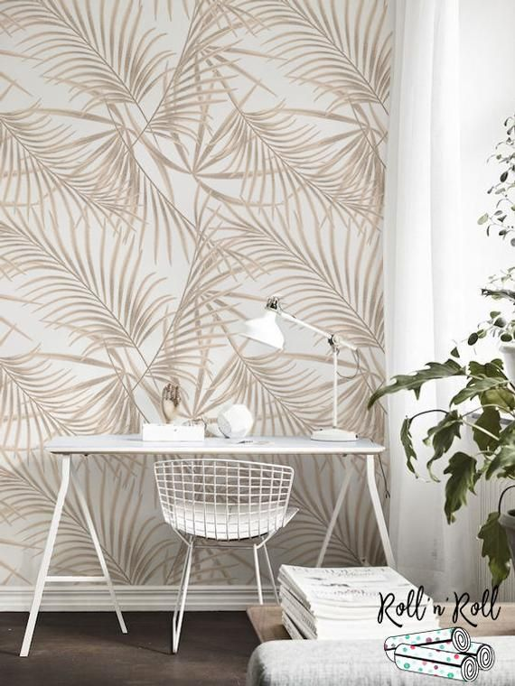 Gold Palm Removable Wallpaper Golden Leaves Tropical Wall Etsy Tropical Wall Decor Removable Wallpaper Wall Decor