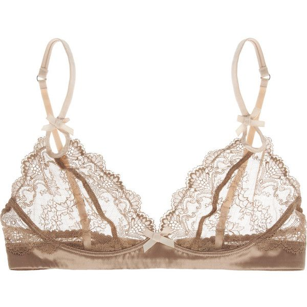 Elle Macpherson Intimates Obsidian Rita lace and satin bra (£42) ❤ liked on Polyvore featuring intimates, bras, lingerie, underwear, lingerie bras, bow lingerie, lace lingerie, lacy lingerie and bow bra
