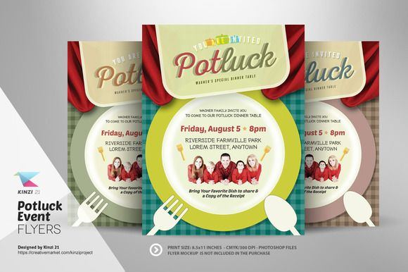 Potluck Event Flyer Template by kinzi21 on Creative Market
