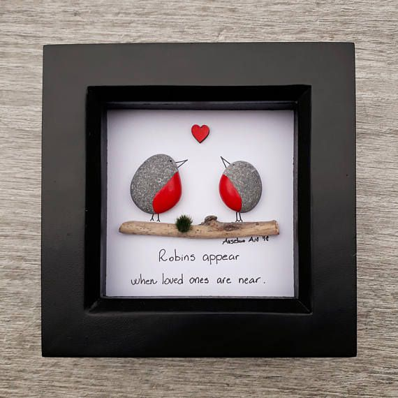 Grief and mourning for lost family member or friend. Remember your lost family member with this unique pebble picture with robins. Robins representing lost friends or family members. ✿ Handmade pebble pictures from South Devon, UK ✿ Comes with black. white or light natural wood