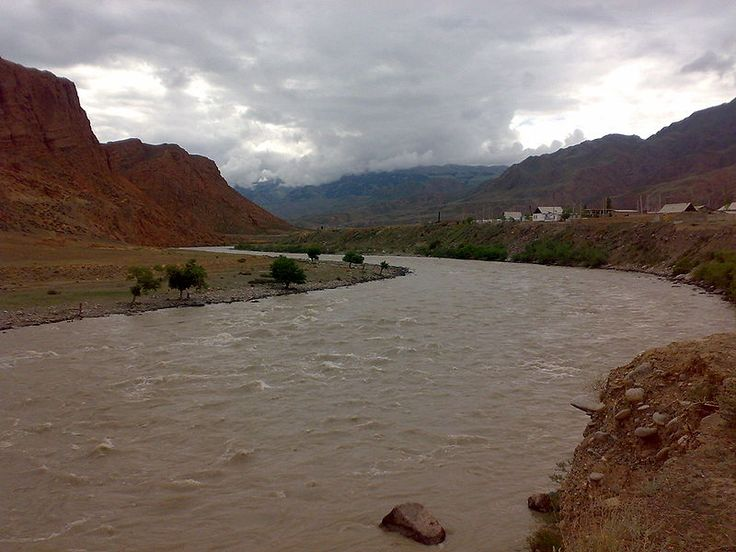 Naryn river in its birth cradle of Tian Shan mountains, Kyrgyghstan