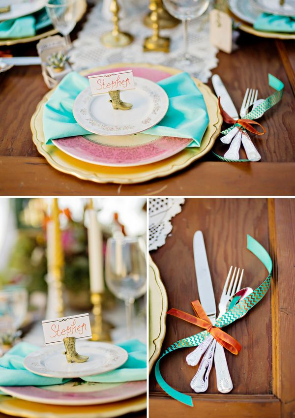 A cowboy boot place card holder is a nod to the southern locale, and silverware tied with ribbon adds another punch of pattern and texture. | Andie Freeman Photography
