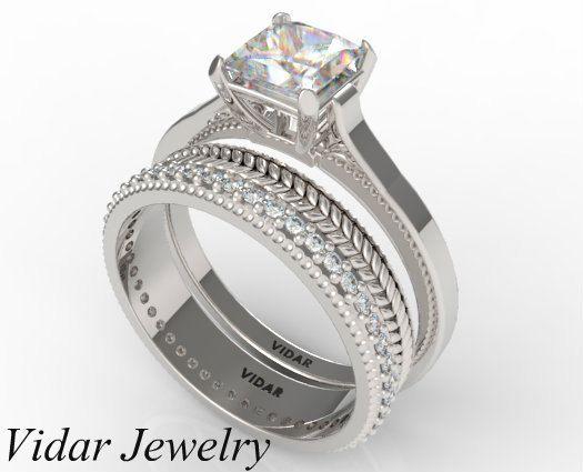 Princess Cut Diamond Wedding Ring SetUnique Gold by Vidarjewelry, $3750.00