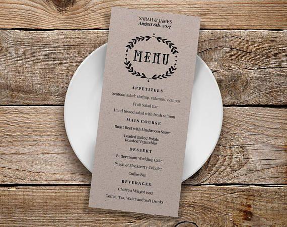 Viac ako 25 najlepších nápadov na Pintereste na tému Wedding menu - wedding menu template