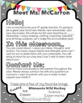 completely editable meet the teacher letter perfect for back to school included in