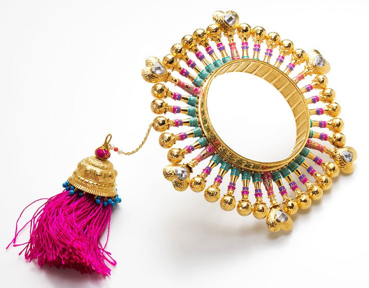 Jewellery collaboration between two legendary Indian brands: Manish Arora and Amrapali | Manish Arora Amrapali collection Queen of Hearts bangle with tassel