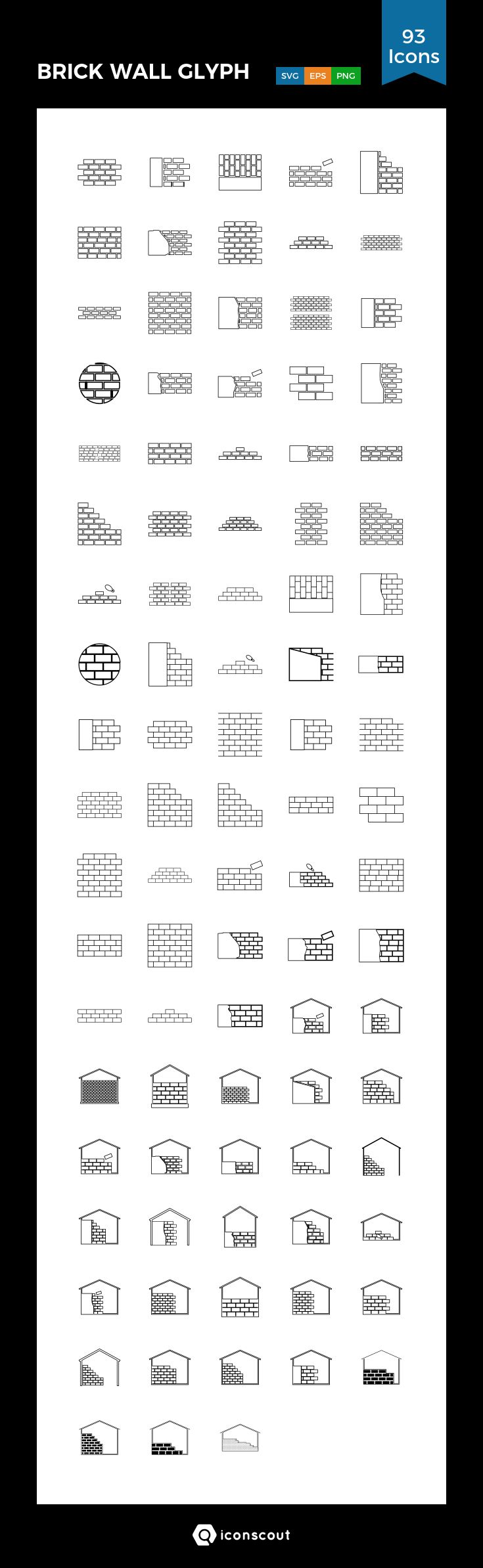 BRICK WALL GLYPH  Icon Pack - 93 Line Icons