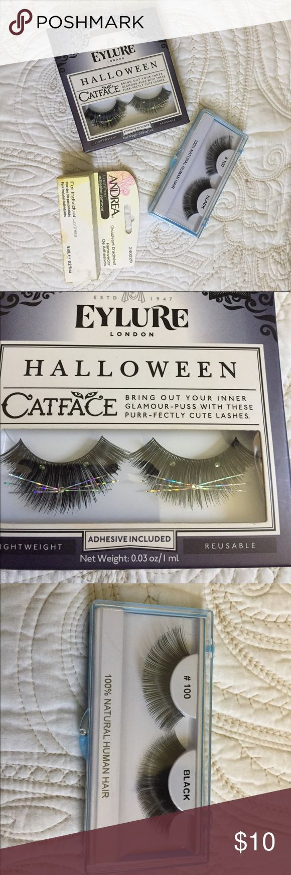 Set of Two eyelashes and an adhesive remover NEW Set of Two eyelashes: Eylure Halloween Catface and a 100% human hair black set, and an Andrea adhesive remover NEW. Bundle and save even more. Happy poshing! various Makeup False Eyelashes