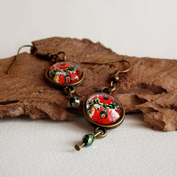 Hungarian folk, floral earring, bronze earring, red tulips, beautiful hungarian jewelry, glass jewelry, colorful earring
