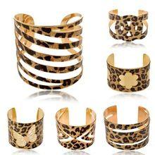 Fashion Leopard Print Flower Butterfly Cuff parkle Hollow Glitter  Bracelets Bangles
