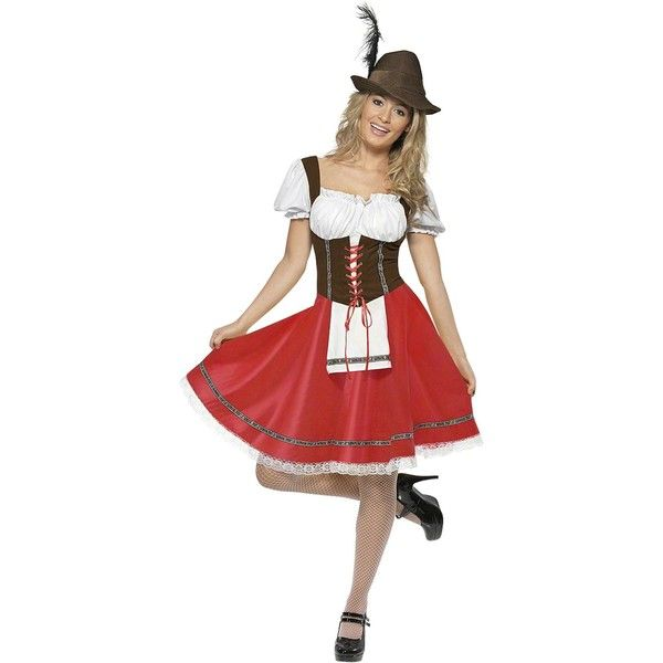 Ladies Oktoberfest Costume ($30) ❤ liked on Polyvore featuring costumes, womens snow white costume, womens halloween costumes, ladies costumes, ladies halloween costumes and womens costumes